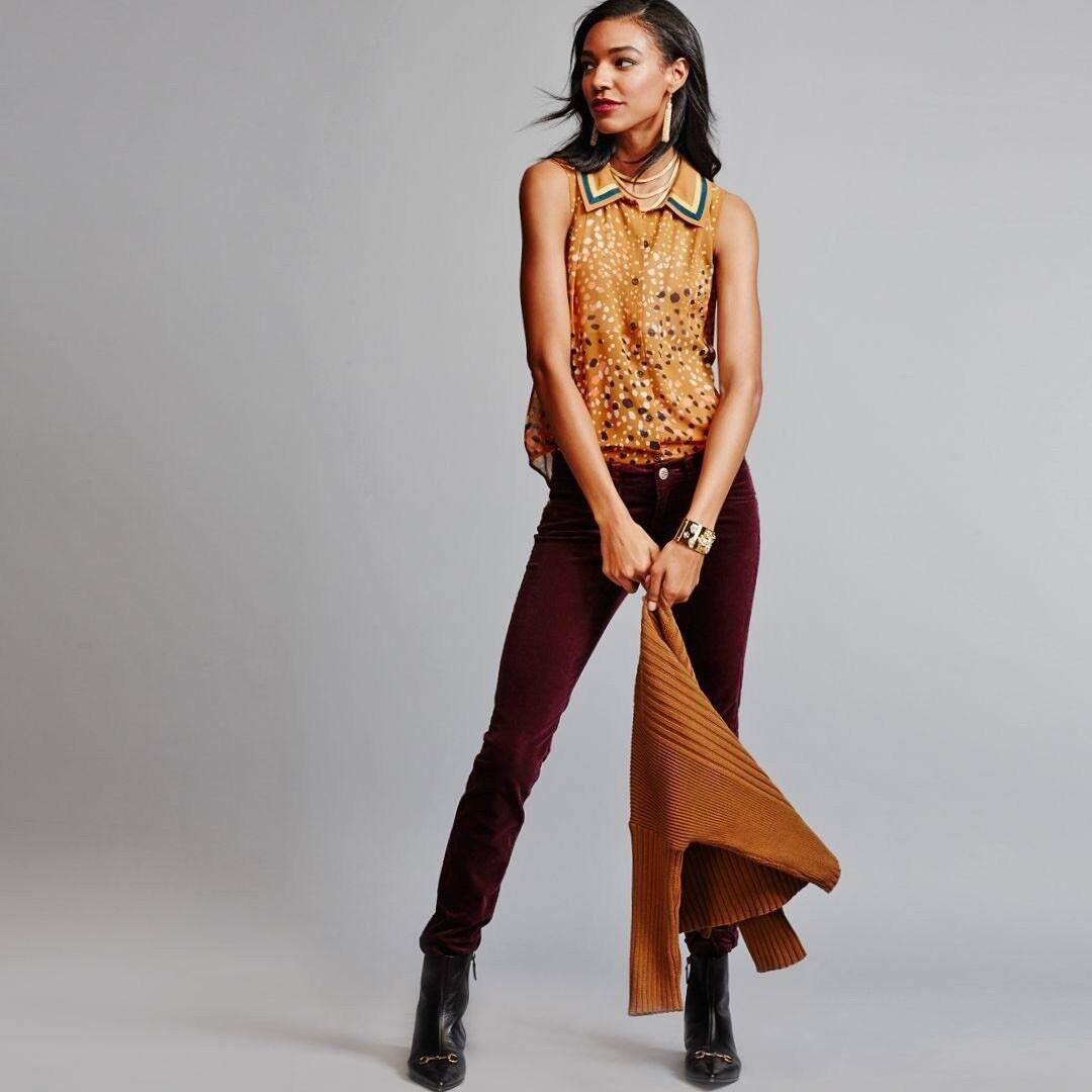 Nueva  azulsa para mujer etiquetas CAbi Cheers  3436 Grandes Botones Cuello oro moho  promociones emocionantes
