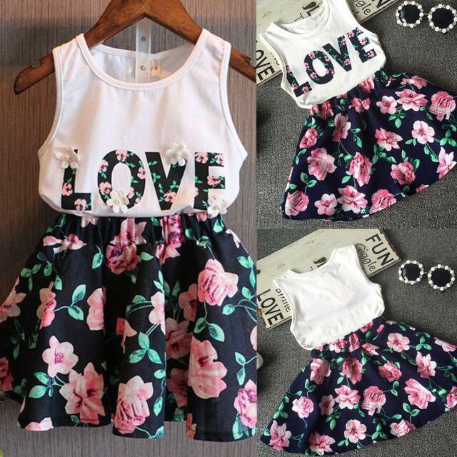2PCS Toddler Kids Baby Girls Summer Clothes T-shirt Tops+Skirt Dress Outfits Set