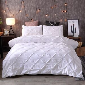 Diamond-Pintuck-White-Duvet-Cover-Set-Twin-Queen-King-Size-Bedding-Set-Soft-US