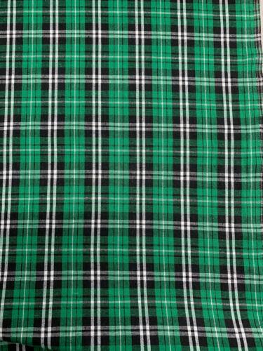 Grün Tartan Karo Kariert Baumwollmischung Hemd Craft Kleidungsstück Stoff 135gsm