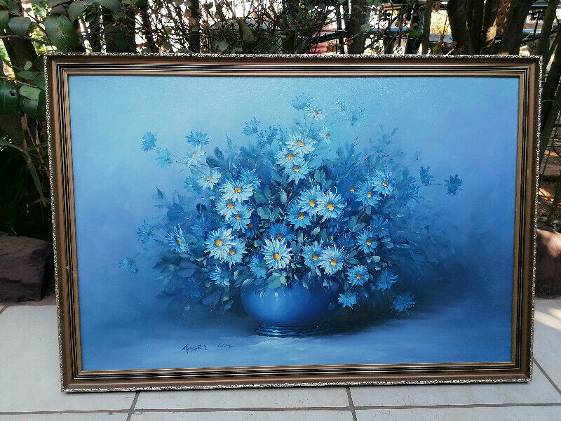 Lovely Blue floral Original Oil Painting by Robert Cox