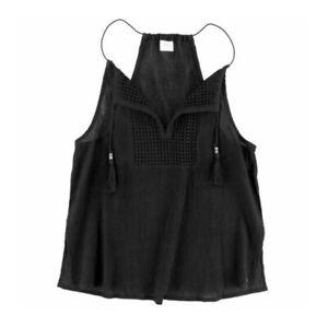 O'Neill LADA Black Crepe Crochet Lightweight Beach Swim Cover Junior's Tank Top