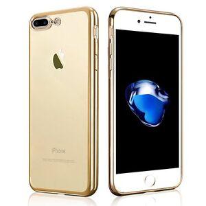 iPhone-7-Plus-Funda-TPU-transparente-con-los-bordes-en-color-oro-dorado-gold