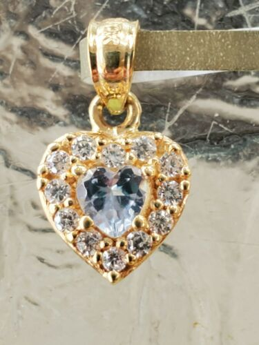 Details about  /Aquamarine Heart Cut And White Sapphire Pendant 10kt Solid Yellow Gold