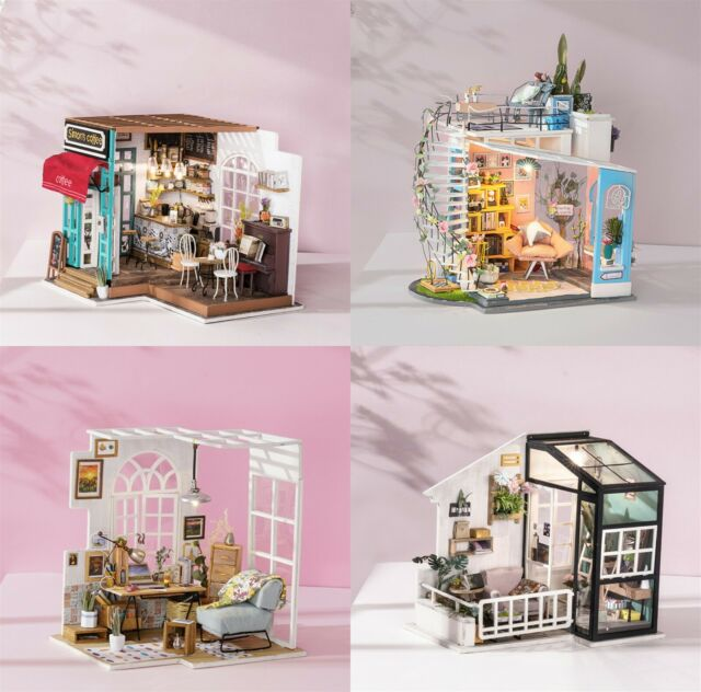 ROBOTIME Dollhouse Modern Miniature DIY House with LED Assembly Toy for Adults
