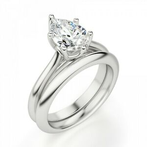 1.50 Ct Pear Cut Real Moissanite 14K Engagement Band Set Solid White Gold Size 7