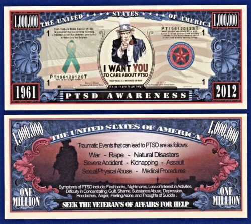 PTSD AWARENESS Dollar Bills  NOVELTY Collectible 2 Fake MONEY-Support C2