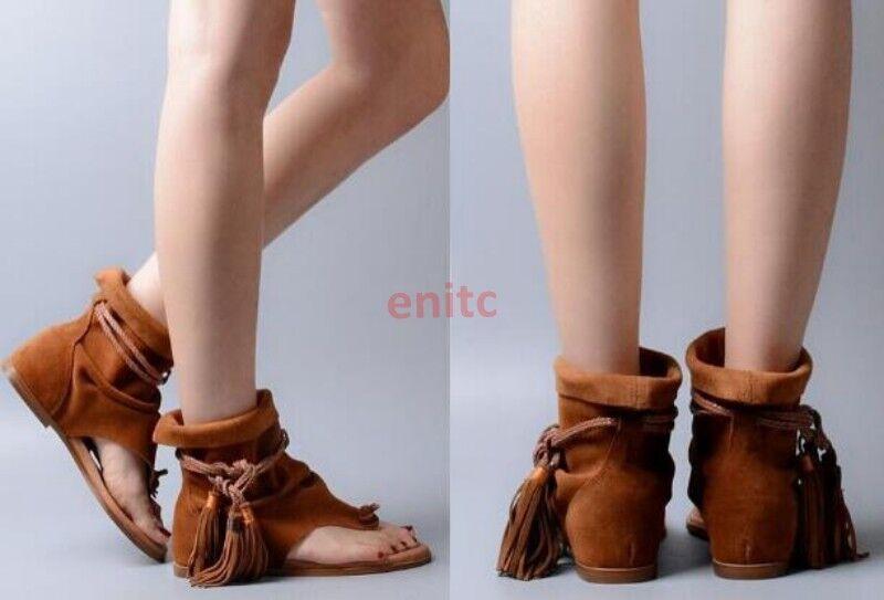 Summer Flip Flops Flops Flops Suede Tassel Fringe Boho Flats donna Sandal stivali scarpe Dimensione d7056e