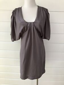REVIEW-Silvery-Grey-Batwing-Shift-Sheath-Cocktail-Party-Dress-Size-6