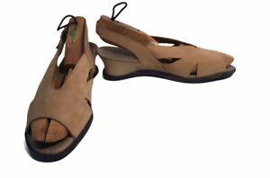 ARCHE-Slingback-Peep-Toe-Heels-Wedge-Beige-Nubuck-Shoes-France-Size-40-US-9-9-5