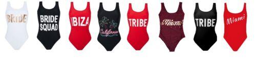Primark Sposa Squad tribù IBIZA Miami Slogan Costume Da Bagno Costume da gallina bradal