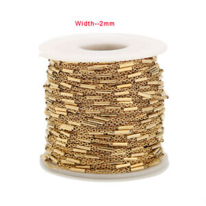 2-Meters-Gold-Plated-Stainless-Steel-Tube-Beaded-Cable-Link-Chain-DIY-Findings