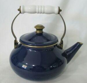Cobalt-Blue-Enamel-Brass-White-Porcelain-Vintage-Tea-Kettle-w-Lid-GUC-No-Whistle