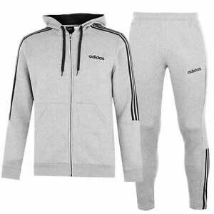 Details zu adidas Herren Three Stripes Jogginghose Kapuzenpullover Fleece Trainingsanzug