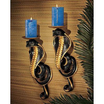 Egyptian Set of 2 Cobra Sculptures Goddess of Fortune Snake Candle Holder NEW
