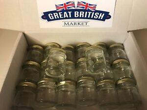 50-x-Small-Empty-45ml-Mini-Glass-Jars-with-Gold-Lids-Wedding-Favours-Jam