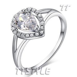 TT RHODIUM 925 Sterling Silver Teardrop Engagement Wedding Ring (RW18)