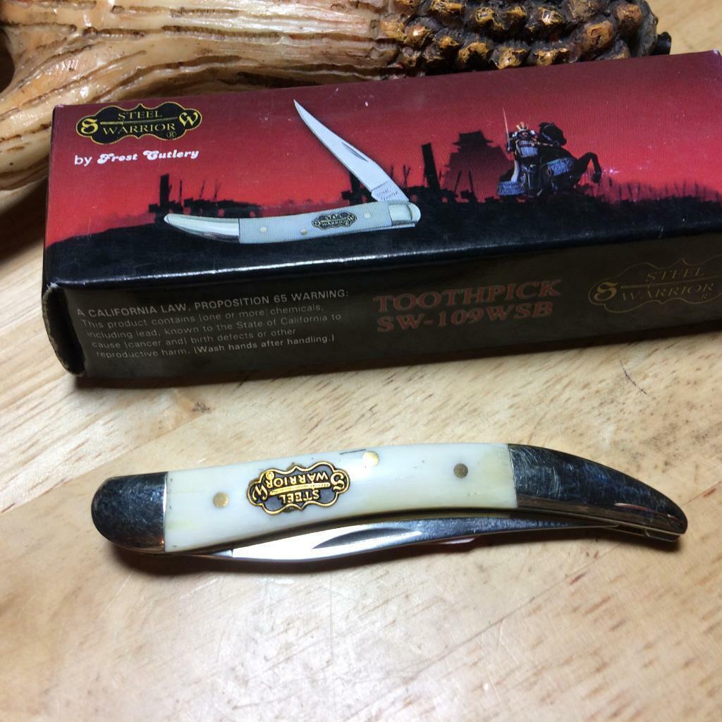 Frost Steel Warrior White Smooth Bone Texas Toothpick 3″ Pocket Knife  FSW109WSB