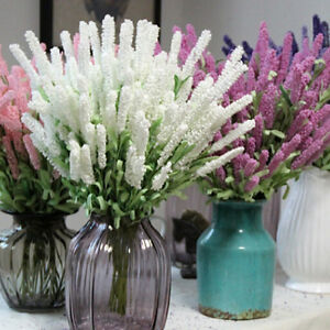 12 heads artificial lavender flower leaves bouquet home wedding image is loading 12 heads artificial lavender flower leaves bouquet home mightylinksfo