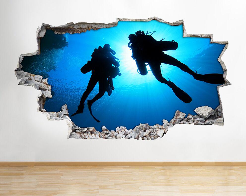 H907 Scuba Divers Ocean Silhouette  adesivo da parete camera bambini