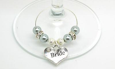 Silver Pearl Personalizzato Matrimonio Famiglia Tavolo Partito Da Vino In Vetro Charms-