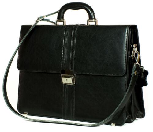 Leder Tasche Damen Herren Aktentasche Schwarz NEU Business Messenger Echtleder
