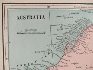 Map Of Australia 1901.Vintage 1901 Australia Map 14 X11 Old Antique Original Canberra