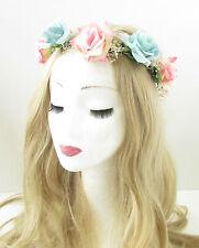 Dried Real Gypsophila Baby's Breath Pink Blue Rose Flower Headband Garland 853