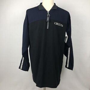 Southpole-1-4-Zip-Pullover-Shirt-Mens-Medium-Blue-Black-Color-Block-Sportswear