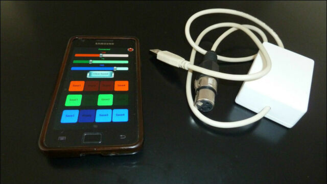 Wireless DMX Stage Lighting Controller téléphone Android.