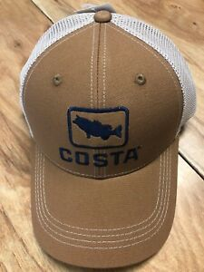 BRAND NEW COSTA DEL MAR BASS TRUCKER CAP HAT BROWN - HOT HOT  1db4a1d43193