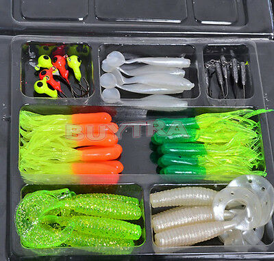 Hot Fishing Lures Bait Tackle Soft Small Jig Head Box Set Simulation Suite USSP
