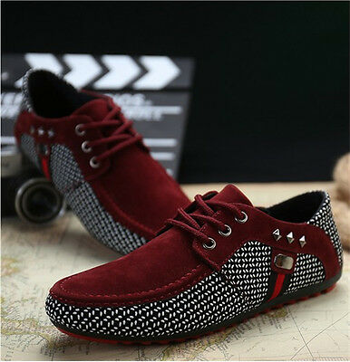 New Experience Men's Casual Suede Lace Up Loafers Driving Soft Shoes