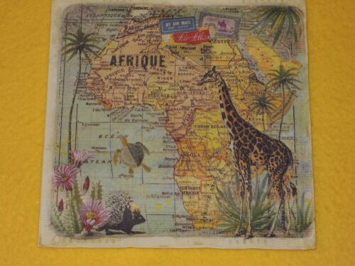 4 stück Servietten Afrika Travel to Africa Giraffen Landkarte ocean Schildkröte