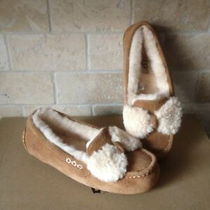 1e064c7e7ac Details about UGG Ansley Fur Bow Chestnut Suede Moccasins Slippers Shoes  Size US 12 Womens