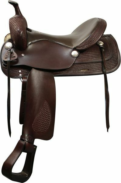 Trail Style Saddle with Basket Weave Tooling and Smooth Leather Seat 16 NEW