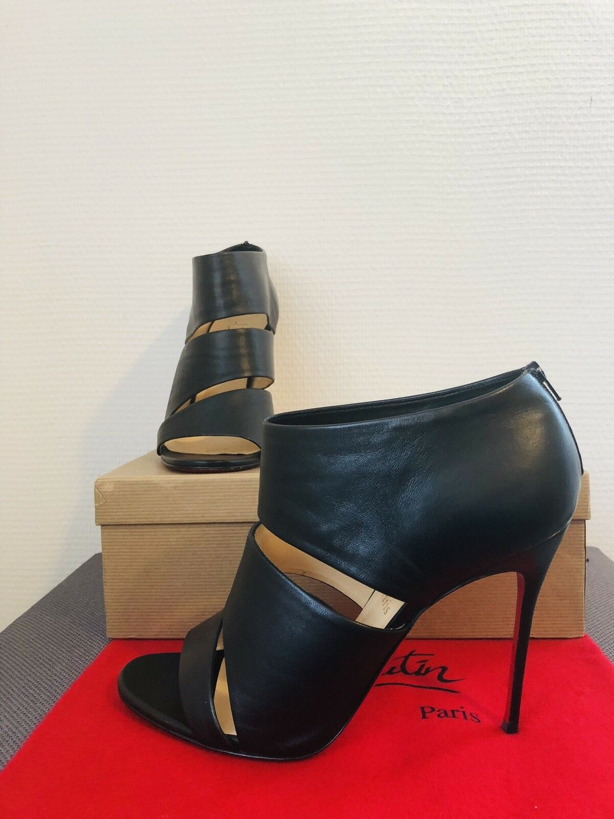 100% orig. Christian Louboutin bottes cachottiere cachottiere cachottiere Bottines Noir Taille 40,5 wneu 474bef
