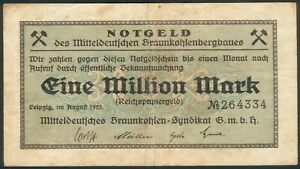 Mitteldeutschen-Braunkohlensyndikat-G-m-b-h-1-Million-Mark-Aug-1923-RAR