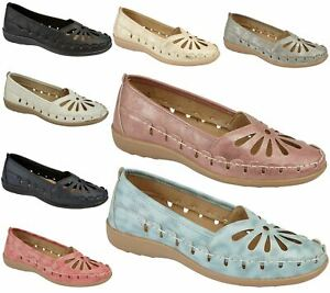 Womens-Loafers-Flat-Casual-Comfort-Ladies-Flower-Cut-Summer-Pumps-Shoes
