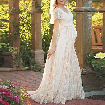 Pregnant Women Lace Maternity Dress Maxi Gown Photography Relaxed Shoot Clothes