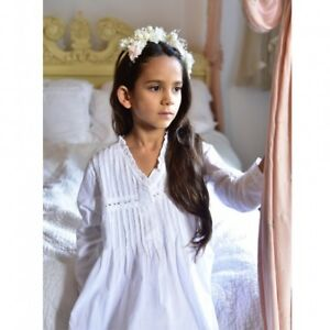 Image Is Loading Girls Long Sleeved White Cotton Nightie Nightdress BNWT