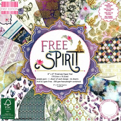 FREE SPIRIT Dovecraft 6 x 6 Sample Paper Pack 1 of each design 16 Sheets 200 gsm
