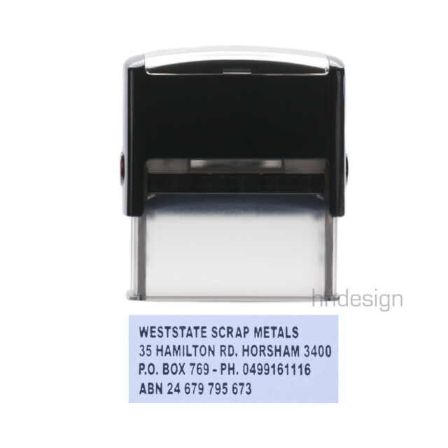 Personalised Self Inking Rubber Stamp Business Office Custom Address 23x59mm