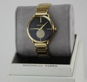 51b128892729 NEW AUTHENTIC MICHAEL KORS PORTIA CRYSTALS GOLD BLACK WOMEN S MK3788 ...