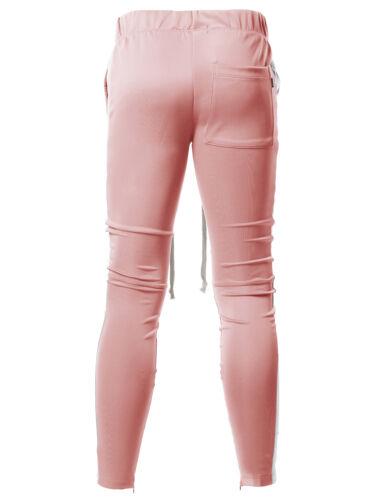 FashionOutfit Men/'s Casual Side Panel Long Drawstring Ankle Zipper Track Pants