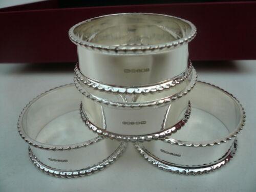 Gift 4 Silver Napkin Rings NEW Sterling Hallmarked, Scottish Anniversary