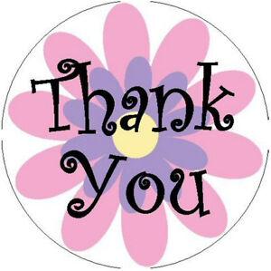 Thank you sticker pink flower 1 round stickers ebay image is loading thank you sticker pink flower 1 034 round mightylinksfo