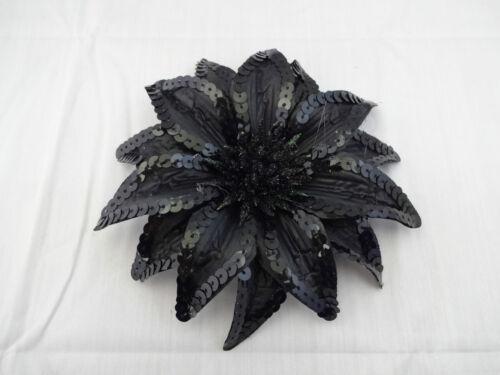 Black Sequin Flower Hair Clip Ponytail Band Pin Shimmer Dancer