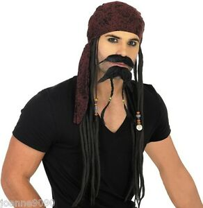 FANCY-DRESS-CARIBBEAN-PIRATE-JACK-SPARROW-COSTUME-BLACK-DREADLOCKS-WIG-BANDANA