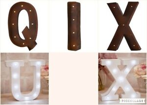 BUNDLE-Large-30cm-Rust-Brown-amp-Small-16cm-White-Carnival-Letter-Lights